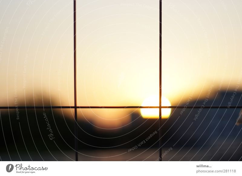 the deliberate demise. Sunrise Sunset Brown Yellow Gray Contentment Moody Grating Dusk Evening sun Meditation Golden section Wire fence Calm Hoarding Crosshair