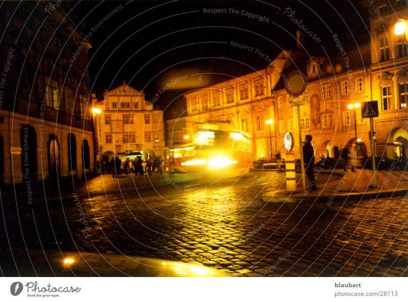 Prague & Tram Night Light Town Europe