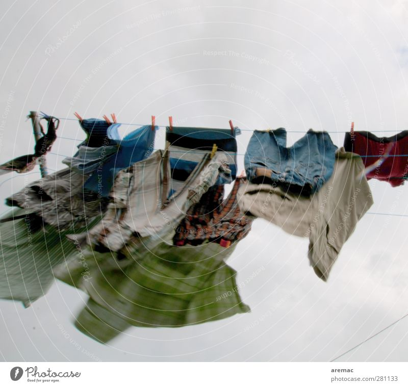 wind drying Wind Movement Laundry Clothesline Washing Dry Gray Housekeeping Colour photo Multicoloured Exterior shot Deserted Copy Space top Day Motion blur