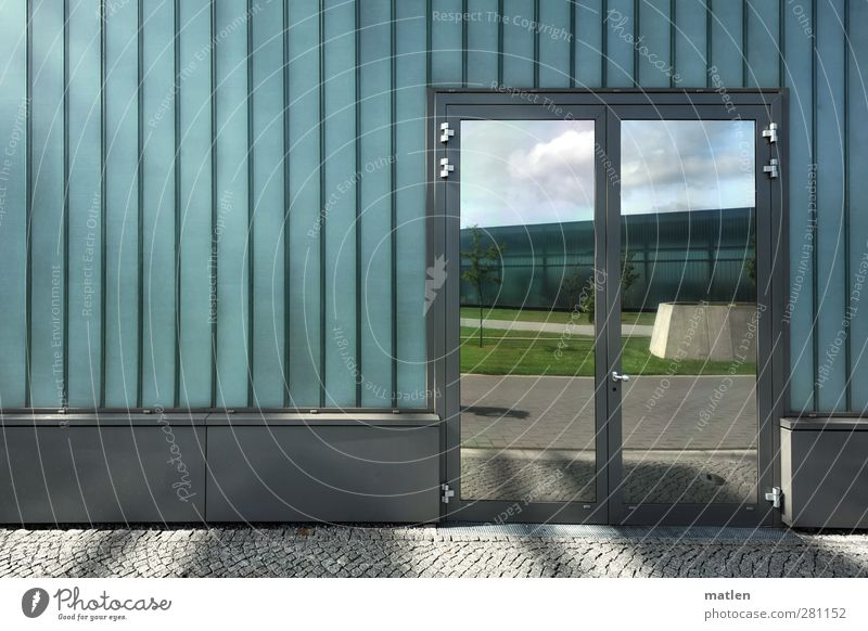 mirror area Deserted House (Residential Structure) Industrial plant Wall (barrier) Wall (building) Facade Street Glittering Gray Green Closed Mirror Car door