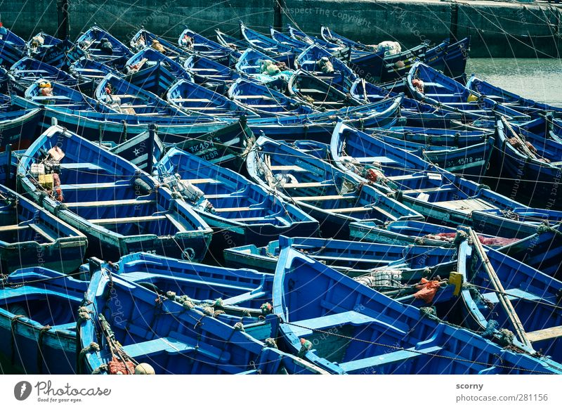 boat parking Port City Deserted Navigation Boating trip Fishing boat Dinghy Rowboat Harbour Vacation & Travel Mobility Symmetry Logistics Colour photo
