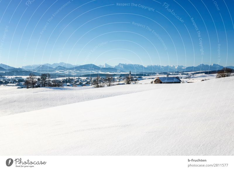 Winter landscape with mountains, Austria Landscape Sky Beautiful weather Snow Alps Mountain Village Church Looking Hiking Infinity Salzburg Snowscape Calm