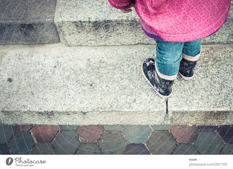 Human being Child Autumn Lanes & trails Legs Fashion Feet Rain Weather Infancy Footwear Stairs Wait Wet Stand Clothing