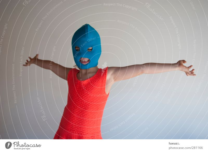 Blue Red Life Crazy Mask Cap Anger Punk Carnival costume Dress up Rebellious Protest Masked Guerilla Activist