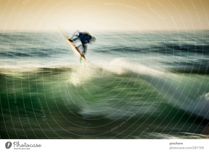 jump Leisure and hobbies Sports Aquatics Water Summer Waves Ocean Jump Cool (slang) Exotic Athletic Adventure Surfing Colour photo Exterior shot Experimental