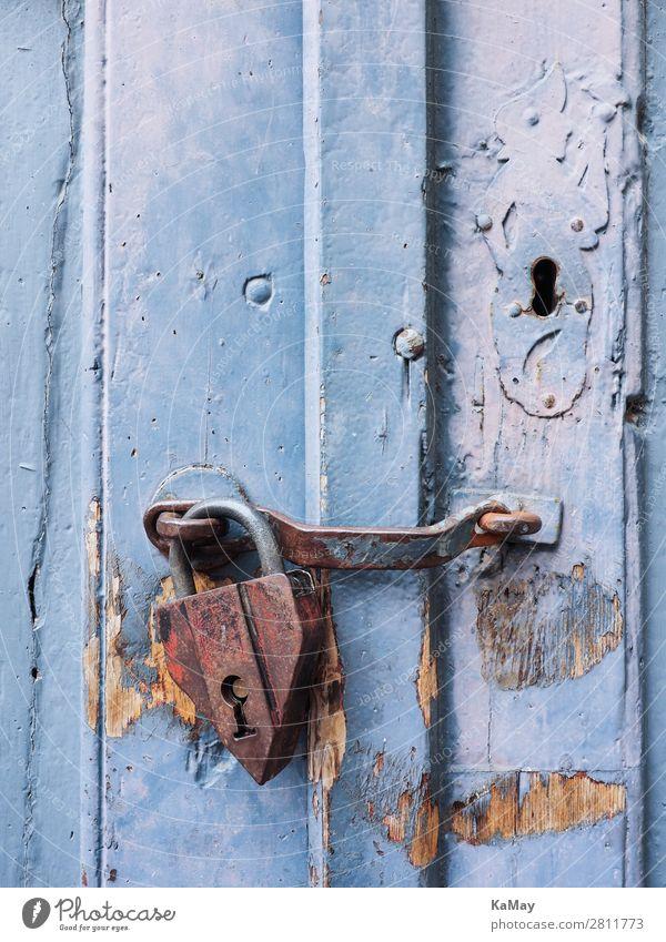 Old padlock on blue door Architecture Door Lock Wood Metal Rust Historic Blue Safety Protection Senior citizen Threat Puzzle Decline Padlock Wooden door Closed