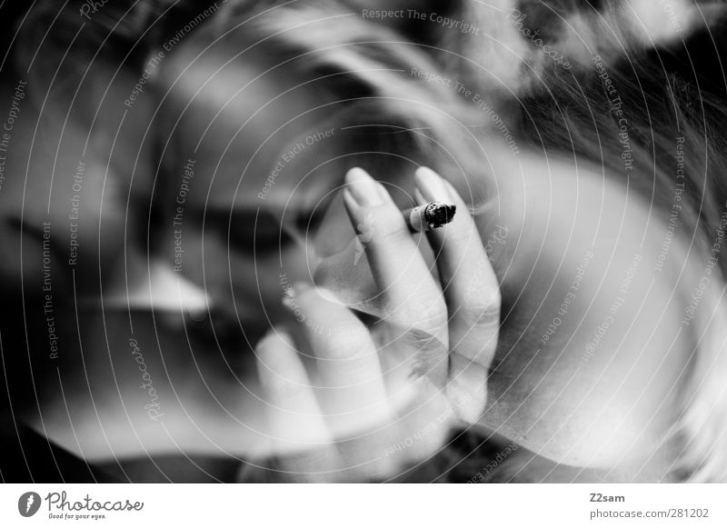 smoker Elegant Style Feminine Young woman Youth (Young adults) 18 - 30 years Adults Blonde Movement Think Relaxation To enjoy Smoking Dream Sadness Dark Serene