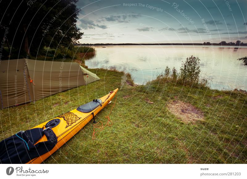 canoe Calm Leisure and hobbies Vacation & Travel Trip Adventure Camping Summer Summer vacation Aquatics Environment Nature Landscape Water Sky Beautiful weather
