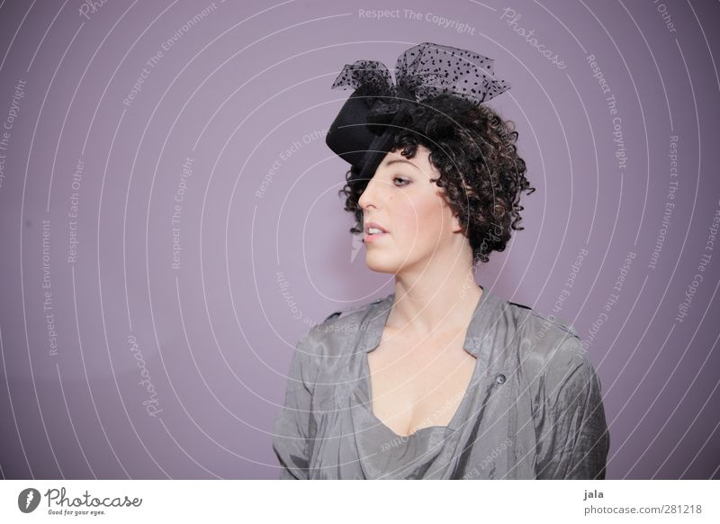 wallpaper-loving woman with hat Human being Feminine Woman Adults 1 30 - 45 years Fashion Accessory Hat Hair and hairstyles Brunette Curl Esthetic Colour photo
