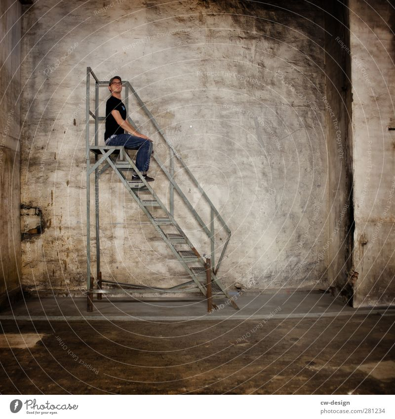 I'm at the top of the ladder. Human being Masculine Young man Youth (Young adults) Man Adults 1 18 - 30 years Industrial plant Factory Ruin Wall (barrier)