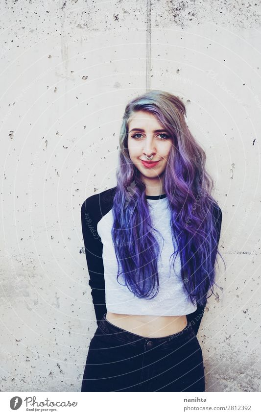 Cool young woman with blue hair Beautiful Hair and hairstyles Face Freedom Human being Feminine Young woman Youth (Young adults) Woman Adults 1 18 - 30 years