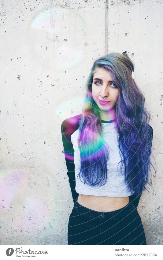 Cool young woman with blue hair and a septum piercing Woman Human being Youth (Young adults) Beautiful 18 - 30 years Face Lifestyle Adults Natural Feminine