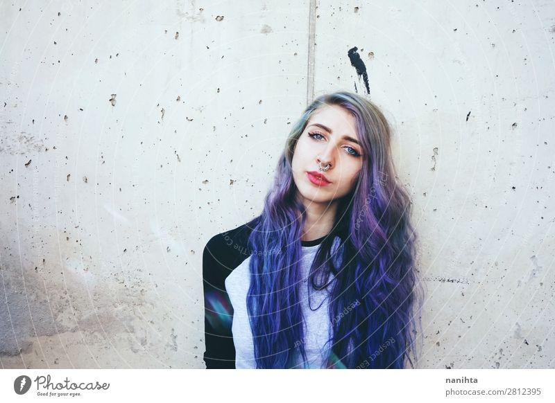 Cool young woman with blue hair and a septum piercing Woman Human being Youth (Young adults) Young woman Blue Town Beautiful 18 - 30 years Face Adults Natural