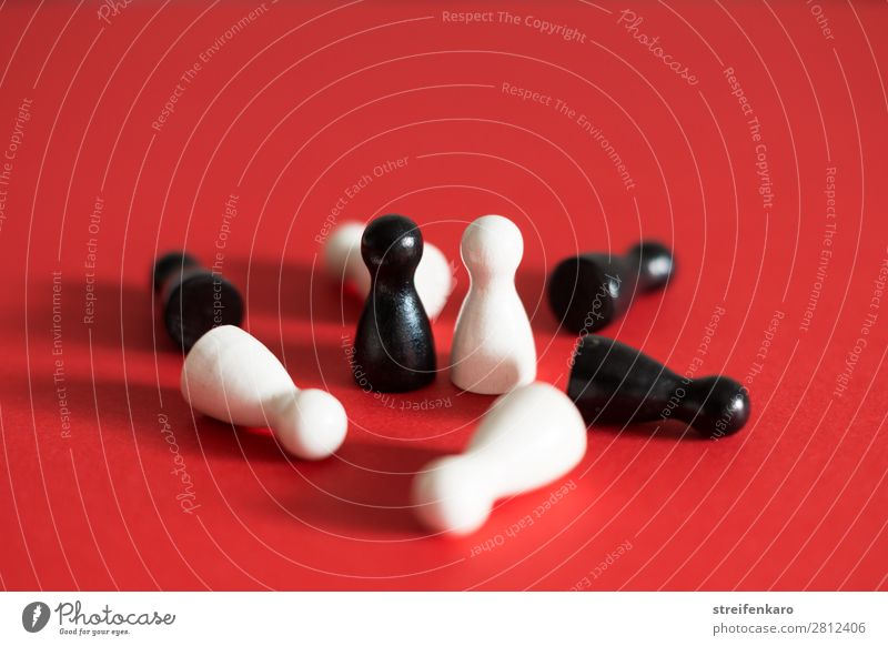 White Red Black Wood To talk Playing Group Together Communicate Lie Power Stand Dangerous Threat Might Near