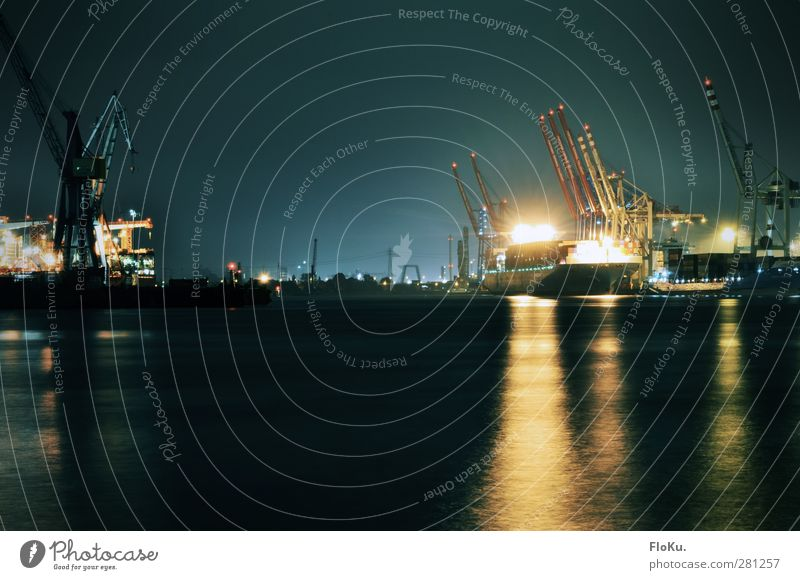 night shift Industry Water River Elbe Town Port City Industrial plant Harbour Navigation Container ship Dark Blue Yellow Black Hamburg Port of Hamburg