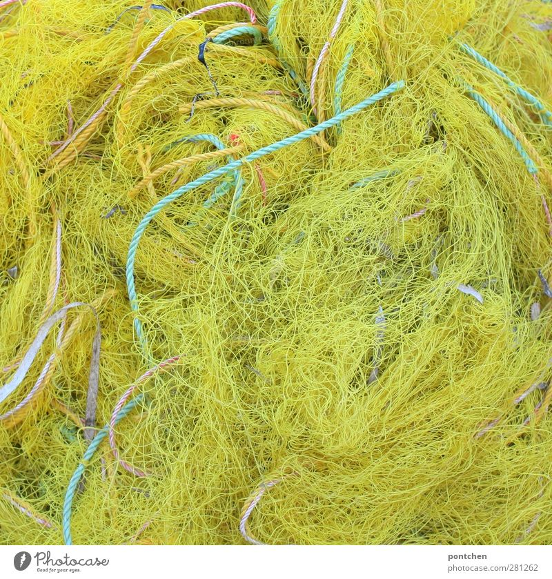 Tangle of yellow fishing nets and ropes and yellow and green. Net Blue Yellow suggestive by-catch Overfishing Fishery Fishing net Environmental protection