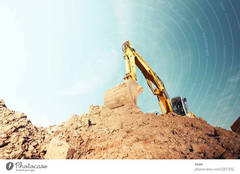 excavator Work and employment Workplace Construction site Industry Services SME Environment Elements Earth Sky Beautiful weather Metal Blue Brown Yellow