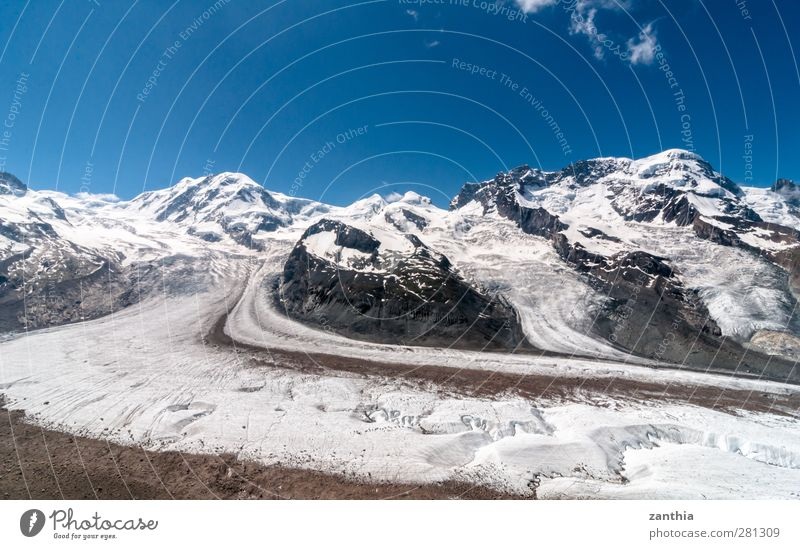 Gorner Glacier Nature Landscape Sky Summer Climate change Beautiful weather Alps Mountain Peak Snowcapped peak Switzerland Old Gigantic Large Cold Blue White
