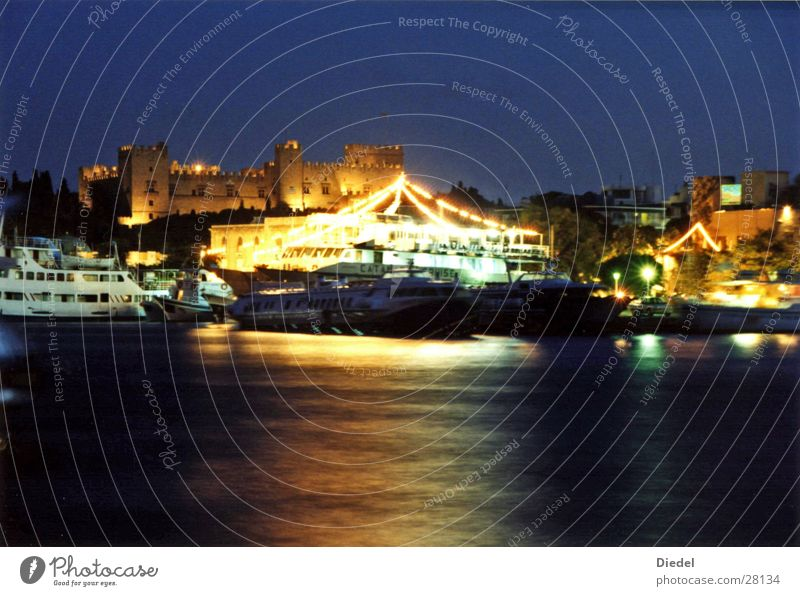 Rhodes Port Sunset Europe Harbour Water Light