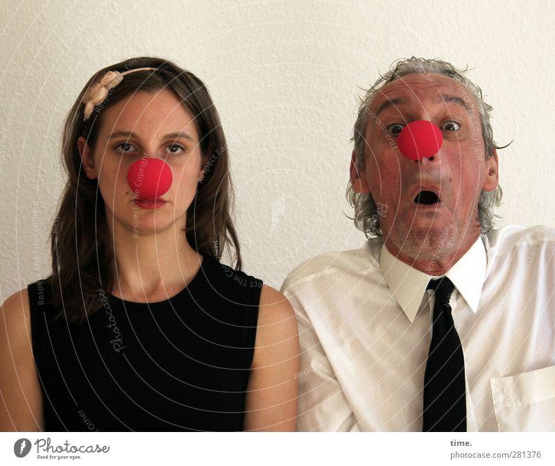 Human being Woman Man Adults Observe Shirt Tie Clown Amazed Excitement Indifference Hair circlet