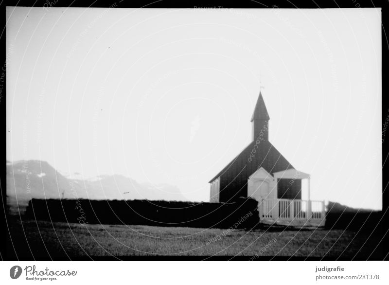 Iceland Nature Snæfellsnes Church Manmade structures Building Dark Cold Moody Belief Religion and faith Black & white photo Exterior shot Deserted