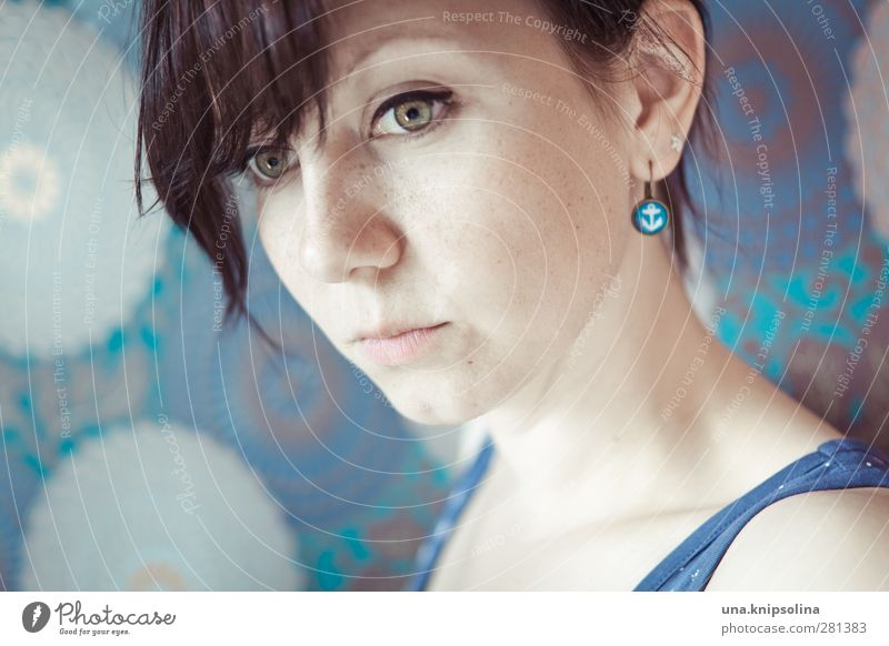 anchor Woman Adults 1 Human being 18 - 30 years Youth (Young adults) Jewellery Earring Brunette Bangs Braids Anchor Sign Think Dream Sadness Natural Blue