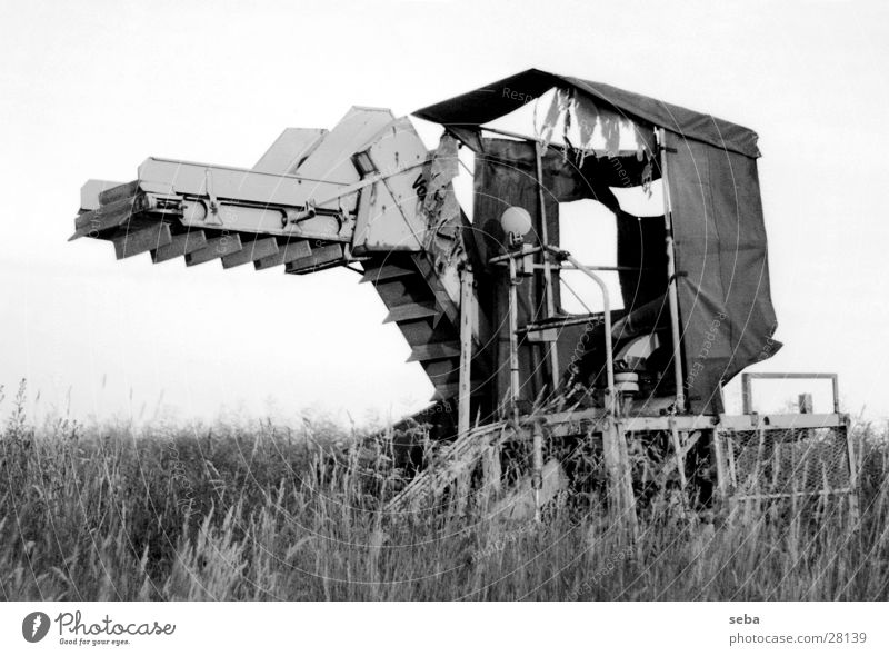 harvester Agriculture Machinery Field Black White Village Electrical equipment Technology Harvest