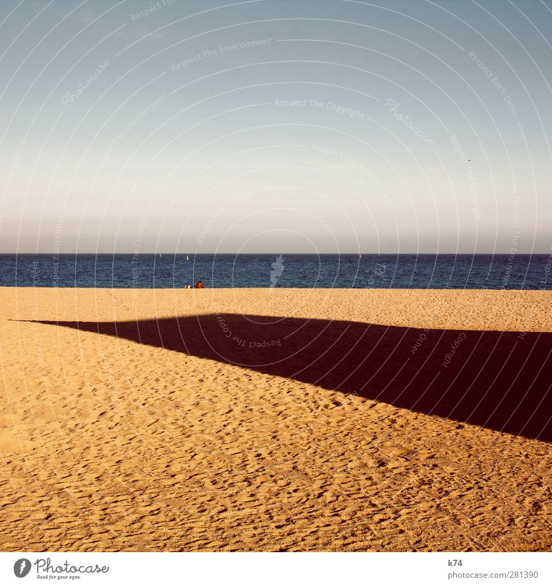 Shade during sunbathing Environment Nature Landscape Water Sky Cloudless sky Horizon Summer Beach Ocean Sand Free Large Blue Calm Freedom Massive Point