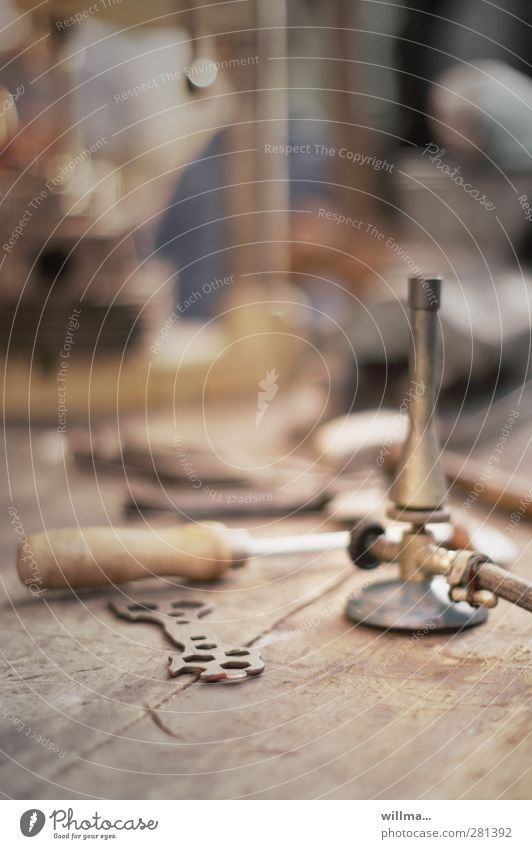 Old Brown Historic Workshop Craft (trade) Tool Nostalgia Craftsperson Workbench Gas burner Soldering Screw wrench