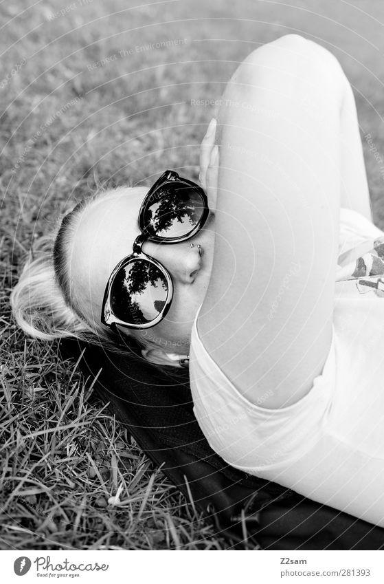 ...I'm chilling! Style Feminine Young woman Youth (Young adults) 18 - 30 years Adults Meadow T-shirt Piercing Sunglasses Blonde Relaxation Lie Looking