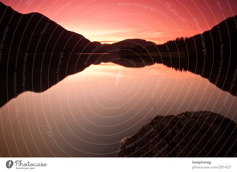 Beautiful Sunset at Buttermere Nature Landscape Water Sky Night sky Sunrise Sunlight Summer Beautiful weather Lakeside Symmetry Colour photo Multicoloured