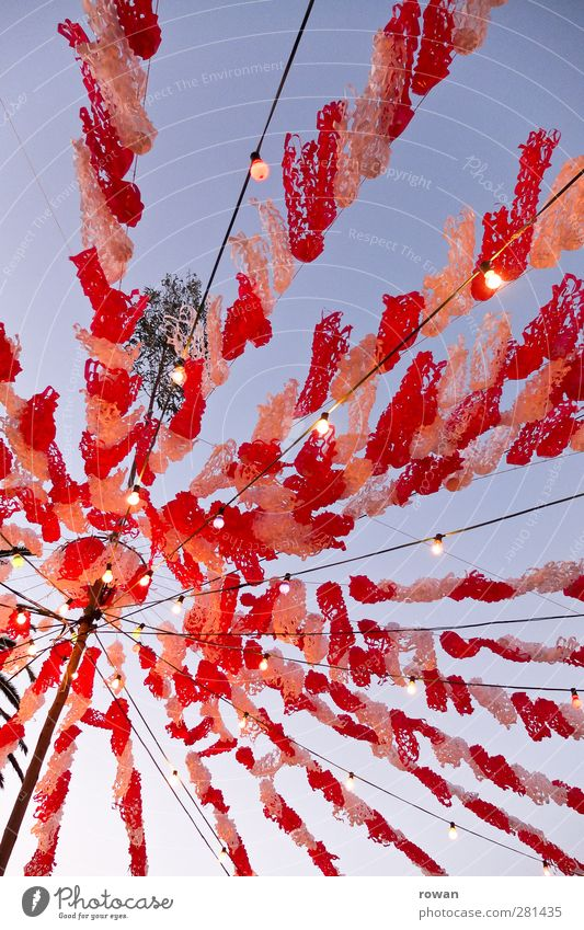 Party! Joy Feasts & Celebrations Fairs & Carnivals Happiness Red White Joie de vivre (Vitality) Ease Decoration Lighting Fairy lights Paper chain Street party
