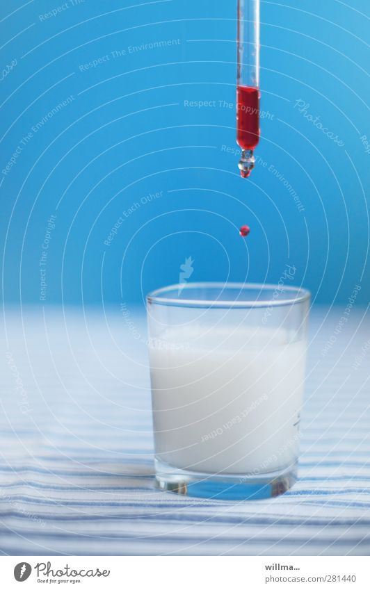 Droplet infection - drop falls from pipette into a glass Beverage Milk Alcoholic drinks Glass Healthy Medical treatment Nursing Illness Intoxicant Medication