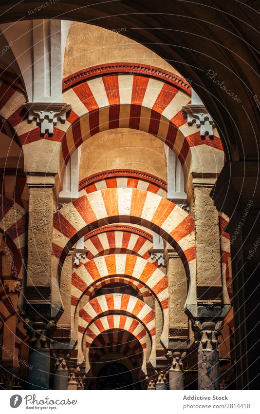 Interior of The Cathedral and former Great Mosque of Cordoba Mezquita Interior design Islam Spain Building World heritage islamic Decoration Arch Stone White