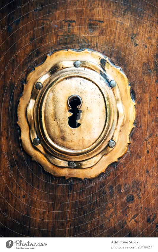 Closeup of an old key lock on a wooden antique door. Texture background Key Lock Old Door Unlock Antique Home Open Wood Rustic Close-up Access Hole Safety Steel