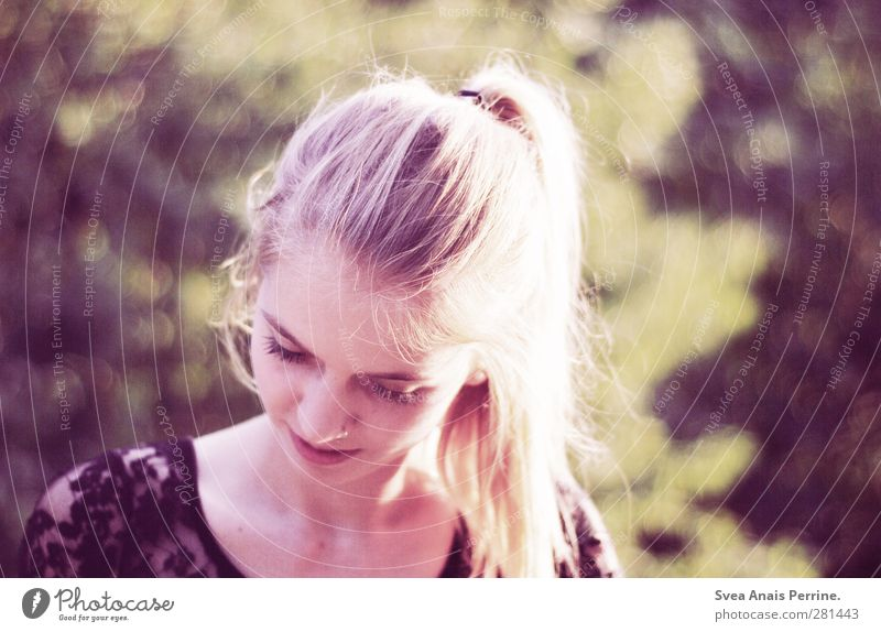 summer evenings. Feminine Head Hair and hairstyles Face 1 Human being 18 - 30 years Youth (Young adults) Adults Nature Beautiful weather Garden Park Blonde