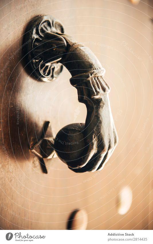 Old knocker on the door Knocker Decoration Door Design Architecture Doorknob Detail Metal doorway Knob Antique Brass Hand