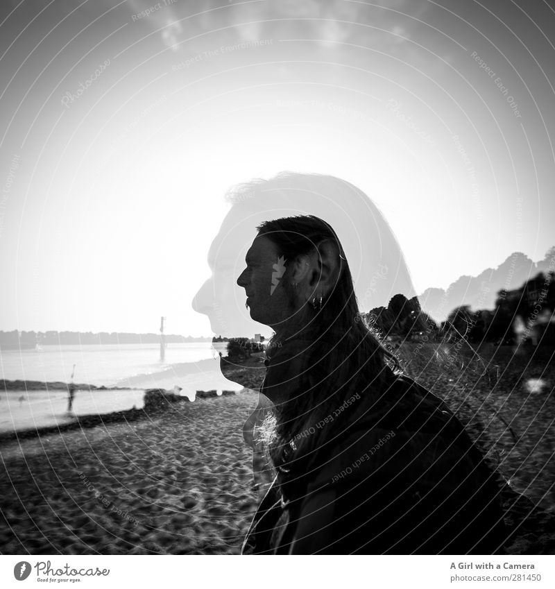 him Human being Masculine Young man Youth (Young adults) Man Adults Life 1 2 30 - 45 years Looking Beach Long-haired Double exposure Black & white photo