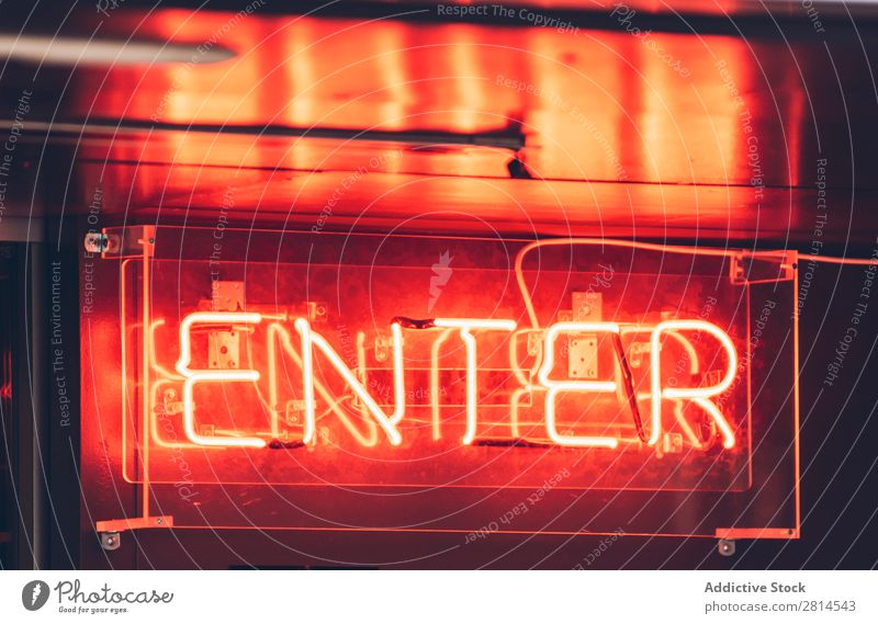 Orange light sign showing entrance Neon Sign Entrance Light Red Bright Illuminate Glow Open Symbols and metaphors Night glowing Signage Colour Design Welcome