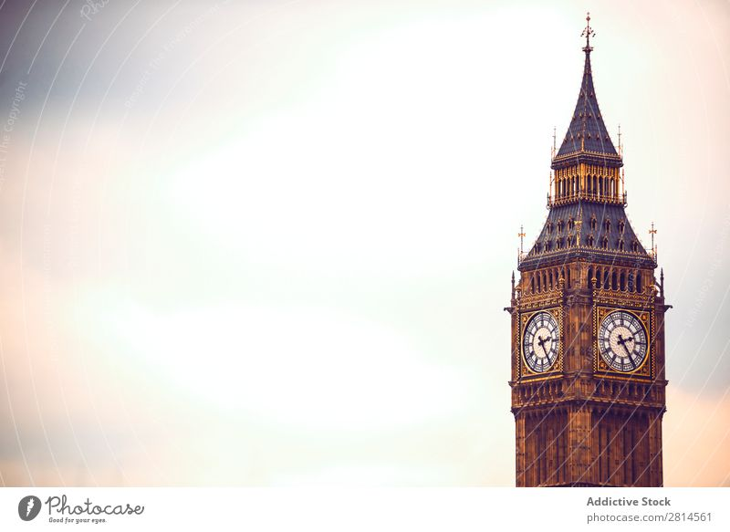 Horizontal shot of Big Ben, London. Copy space Vantage point Tower Clock Architecture Europe England City Town thames Building Vientiane Bridge Skyline English