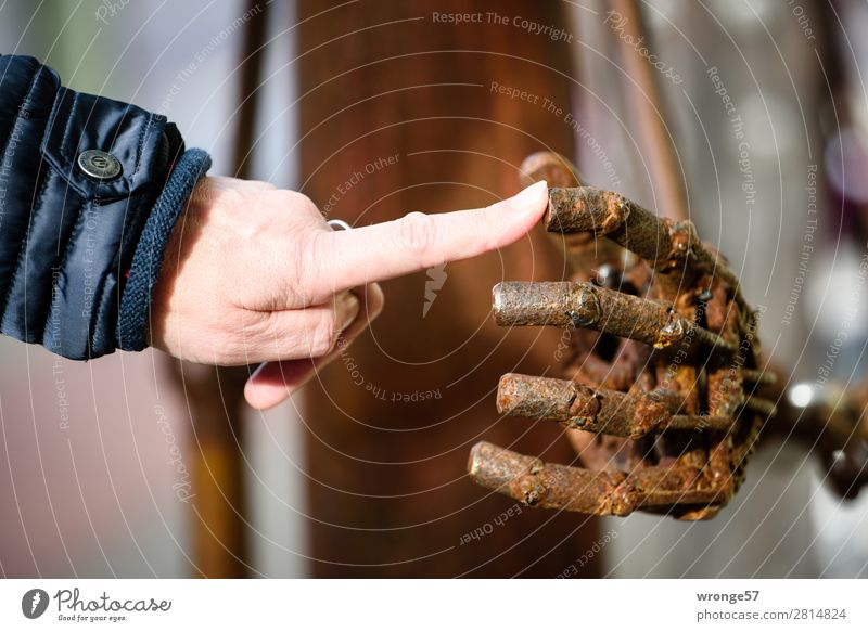 Touch, touch, touch. Hand Fingers 1 Human being 45 - 60 years Adults Art Sculpture Cold Modern Rebellious Brown Black Sympathy Interest Senses Whimsical