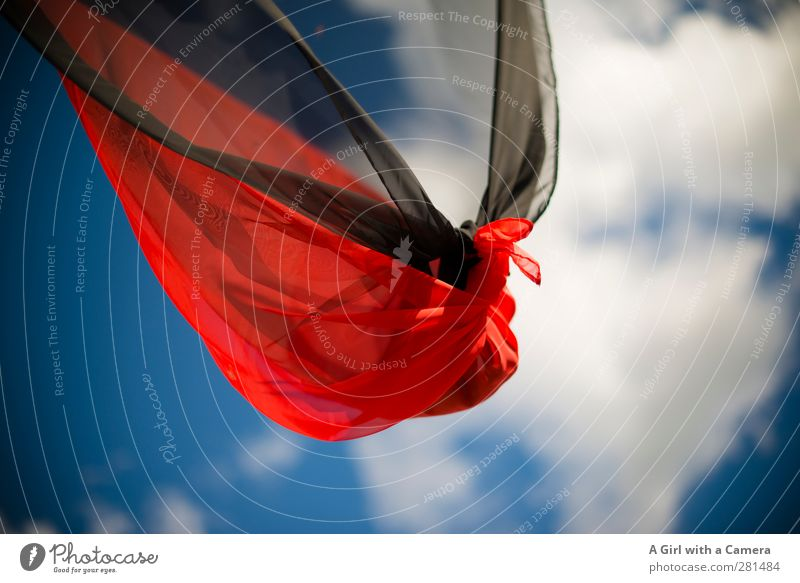 Sky Blue Summer Red Clouds Black Above Wind Beautiful weather Cloth Flag Transparent Blow Knot Node
