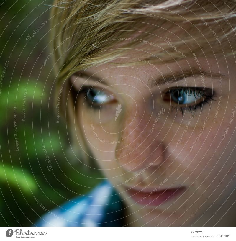 Human being Woman Youth (Young adults) Beautiful Adults Face Eyes Feminine Young woman Hair and hairstyles Head Think 18 - 30 years Blonde Mouth Nose