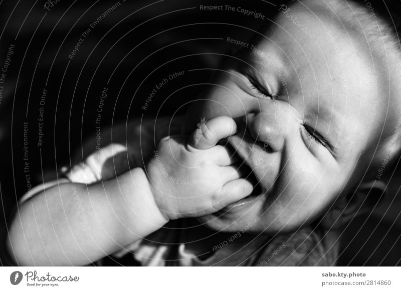 Cute baby smiley Baby Body 1 Human being 0 - 12 months Smiling cute baby blackandwhite baby smiling baby Closed eyes Black & white photo Interior shot