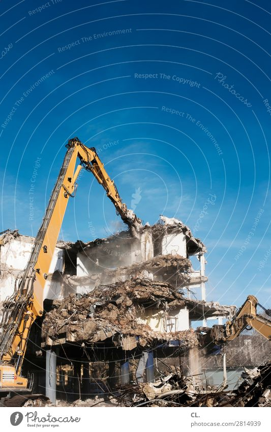 outline Work and employment Profession Construction site Cloudless sky Beautiful weather Duesseldorf Town Deserted House (Residential Structure) Building