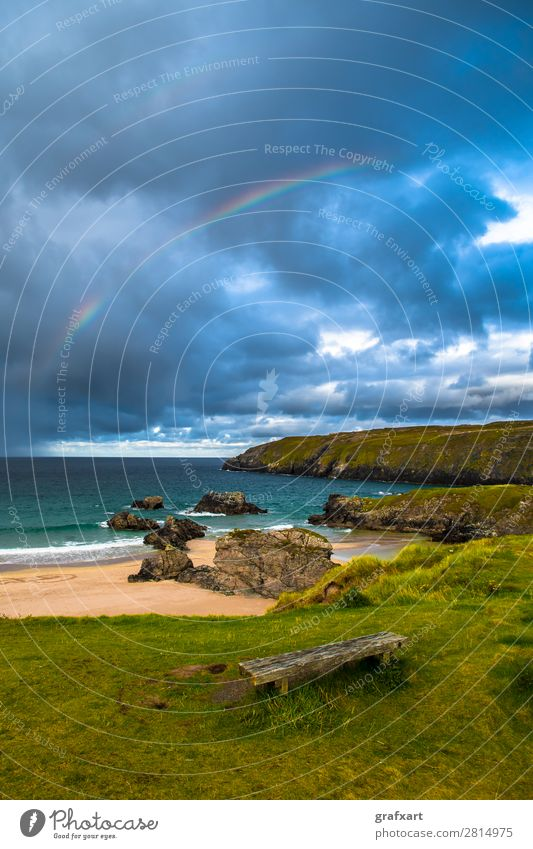 Rainbow over Sango Bay beach at Durness in Scotland Atlantic Ocean Atmosphere Bench Camping turniness Thunder and lightning Storm clouds Great Britain Cliff