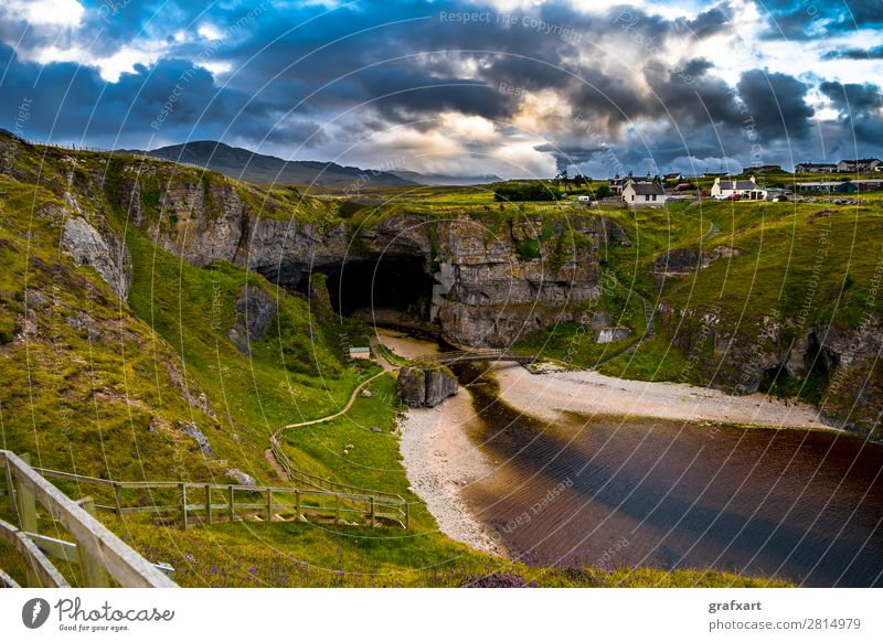 Smoo Cave at the Atlantic coast near Durness in Scotland Vantage point bonnie prince charly Bridge Canyon turniness Entrance River Geology Past Great Britain