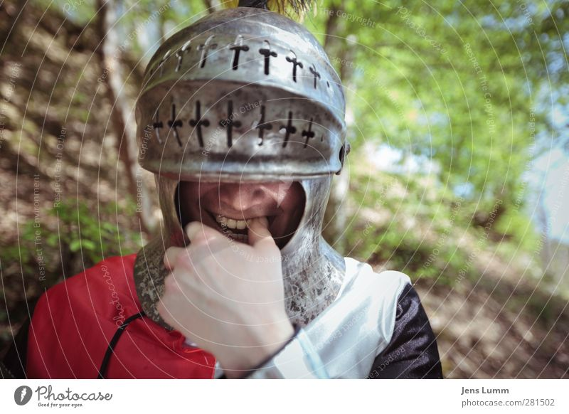 Human being Man Youth (Young adults) Joy Adults 18 - 30 years Contentment Masculine Happiness Joie de vivre (Vitality) Past Memory Costume Helmet Knight