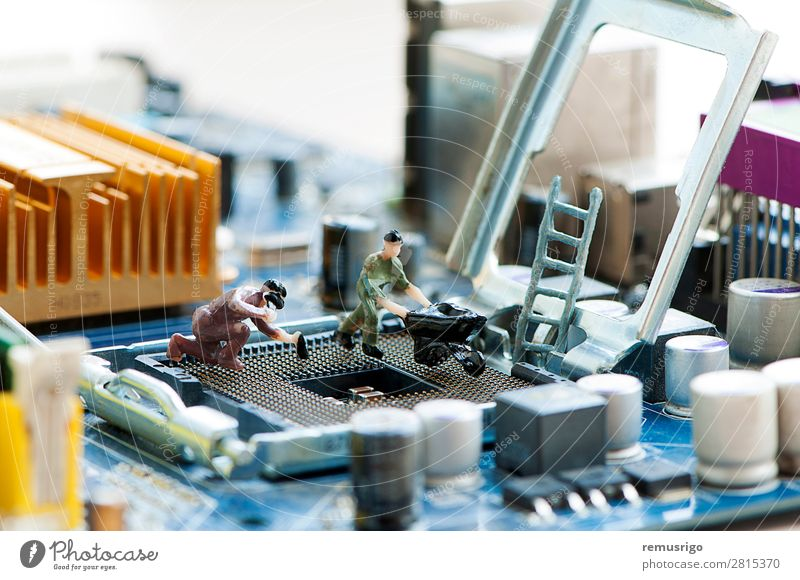 Miniature workers repairing a processor Technology Work and employment board Token circuit hardware Processor Repair service Socket Employees & Colleagues