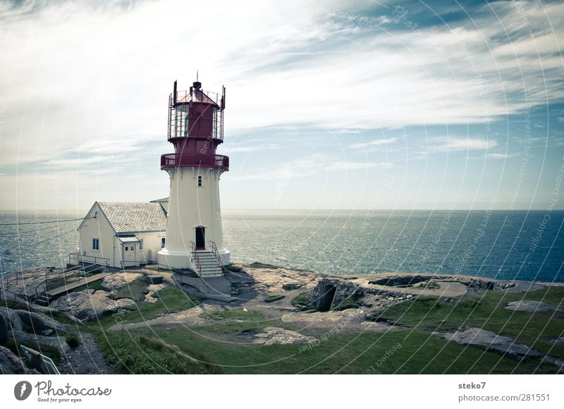 Lindesnes fyr Clouds Summer Coast Ocean House (Residential Structure) Lighthouse Blue Green Red White Horizon Far-off places Norway Colour photo Exterior shot